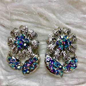 Vintage iridescent Daisy Clip on earrings